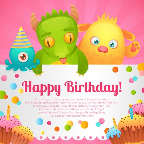 Cartão de monstros de aniversário