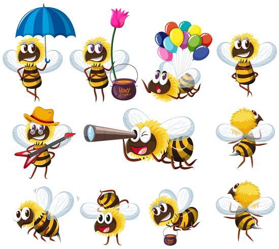 Bienen in verschiedenen Aktionen