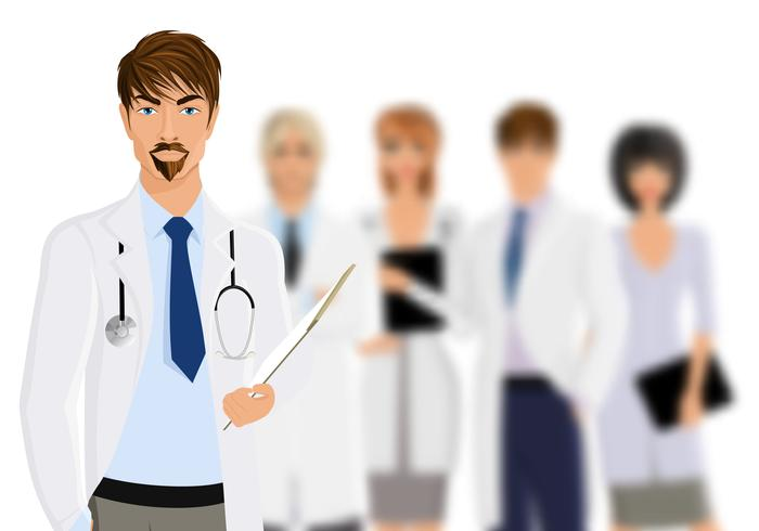 Arzt mit medizinischem Personal vektor