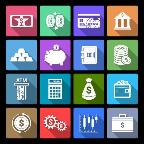 Ícones de finanças de dinheiro vetor