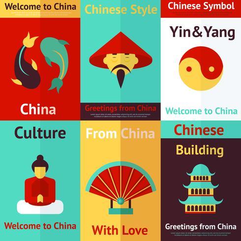 Kina mini-affischer vektor
