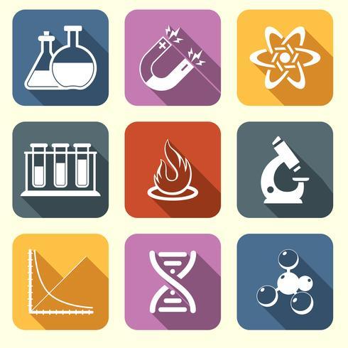Iconos de la ciencia física plana