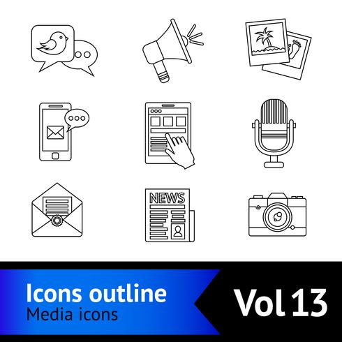 Media icons outline vector
