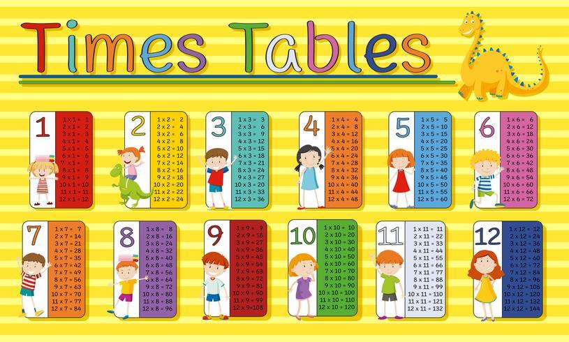 Tableau des horaires avec des enfants heureux sur fond jaune