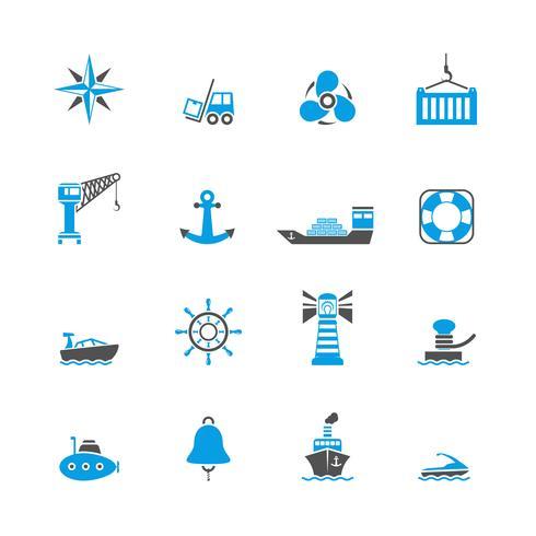 Conjunto de iconos de puerto de mar