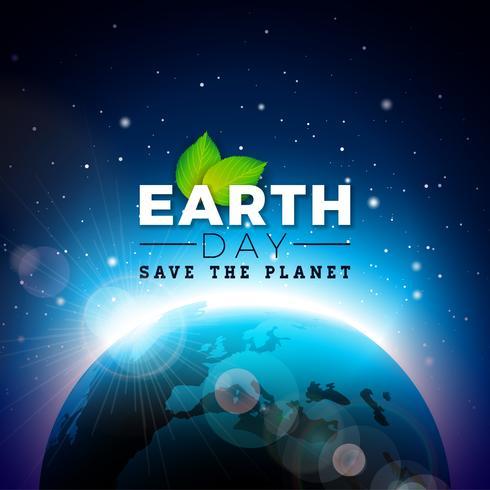 Earth Day illustration med Planet och Green Leaf. Världskarta bakgrunden den 22 april miljö koncept.