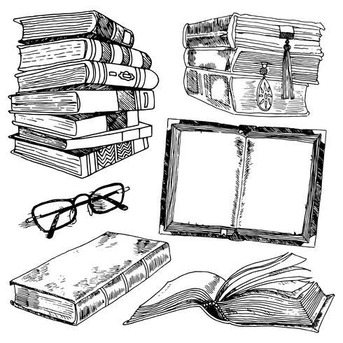 Uppsättning böcker skiss vektor