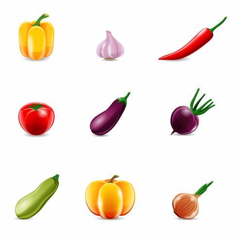 Ícones realistas de legumes vetor