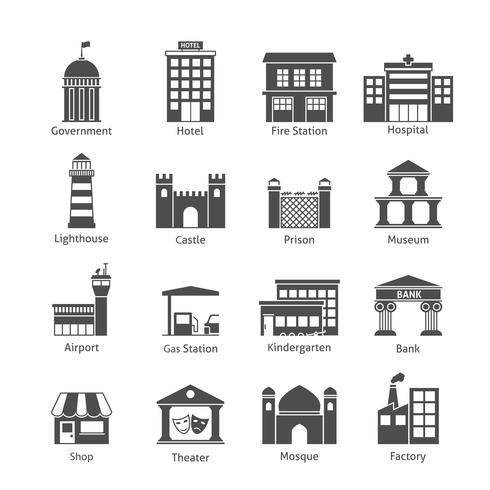 Iconos de edificios gubernamentales vector
