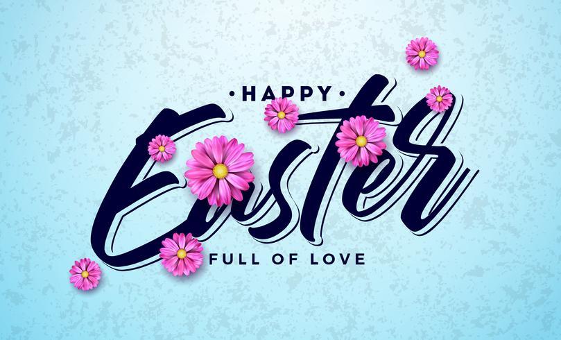 Glückliches Ostern-Feiertags-Design mit bunter Frühlingsblume und Typografie-Buchstaben auf sauberem Hintergrund