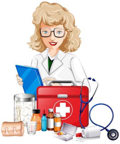 Arzt und medizinische Ausrüstungen
