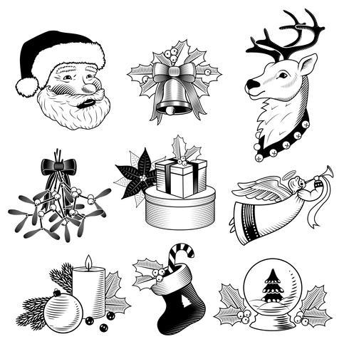 Conjunto de iconos de Navidad blanco y negro