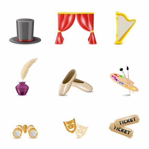 Theatre Realistic Icons vector