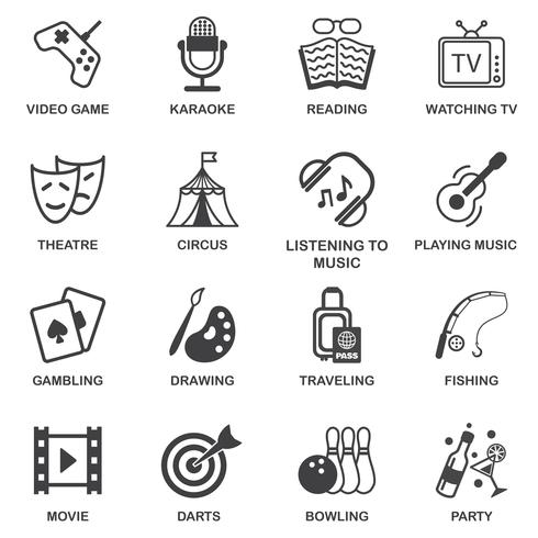 Entertainments icons set vector