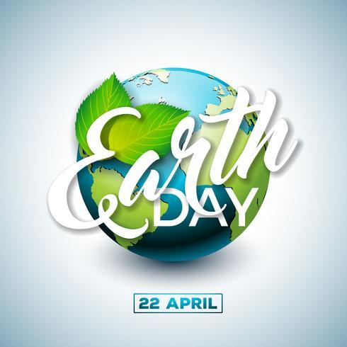 Ilustração do Dia da Terra com o planeta e a folha verde. Fundo do mapa do mundo o 22 de abril conceito do ambiente. vetor