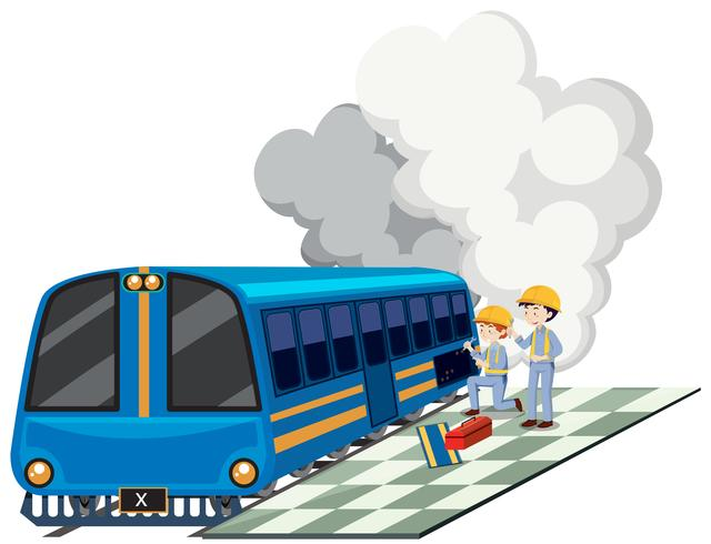 Zwei machanics, die Zugmaschine reparieren