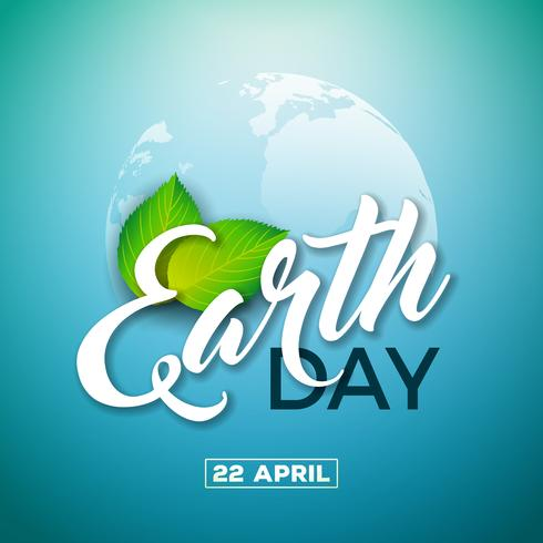 Ilustração do Dia da Terra com o planeta e a folha verde. Fundo de mapa do mundo em 22 de abril ambiente conceito