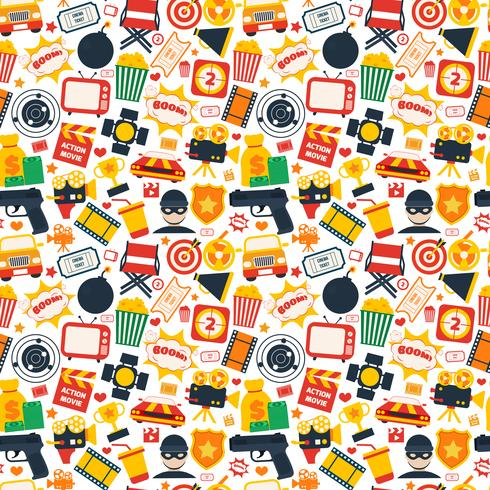 Action movie seamless pattern vector