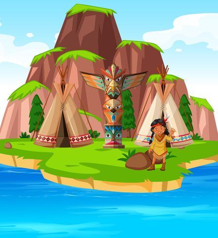Indio Americano Na Ilha Download Vetores Gratis Desenhos De
