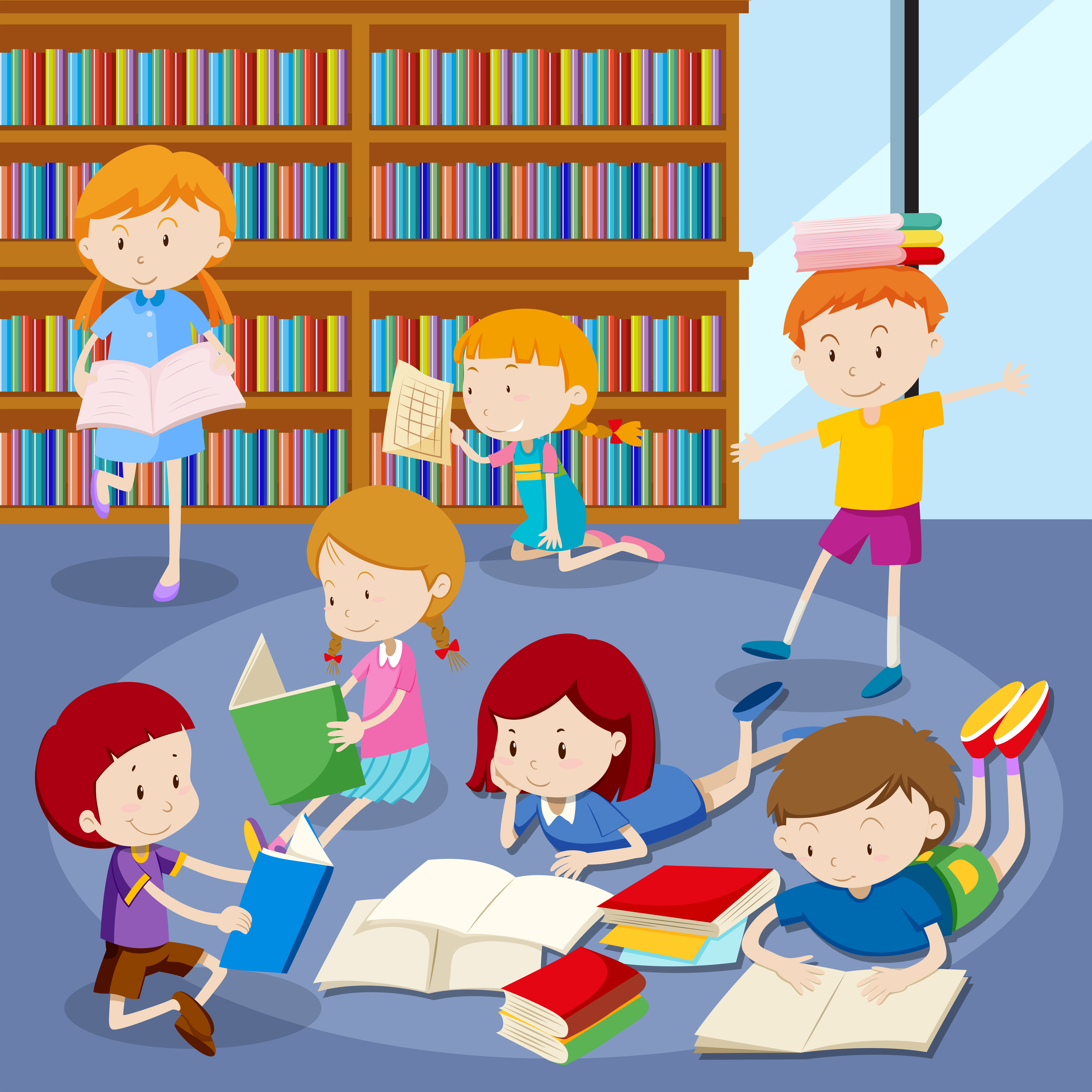 Many students reading books in library - Download Free ...