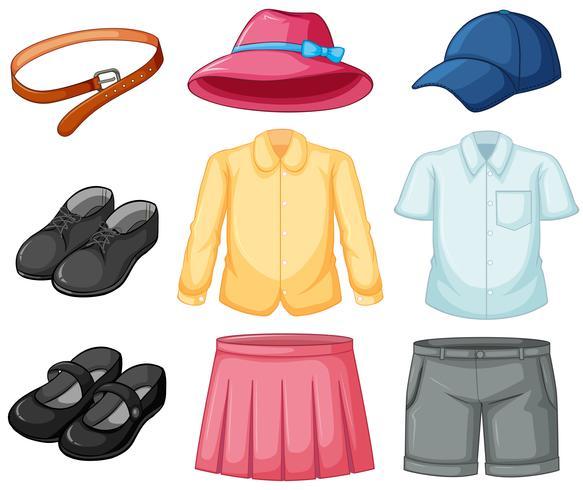 Meisje en jongen uniforme set vector