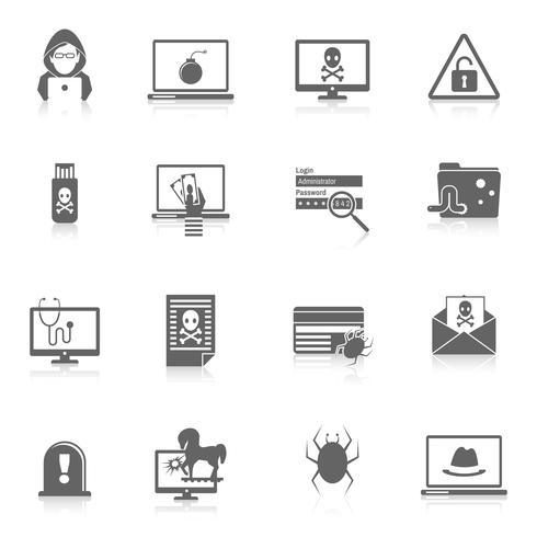 Hacker iconos negros vector