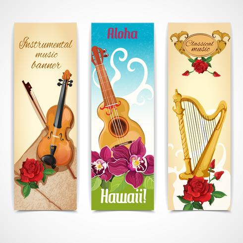 Music instruments banners vector