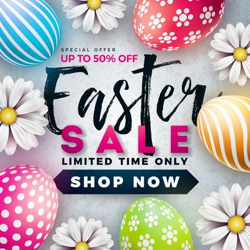 Ilustração da venda da Páscoa com a flor pintada cor do ovo e da mola no fundo branco.