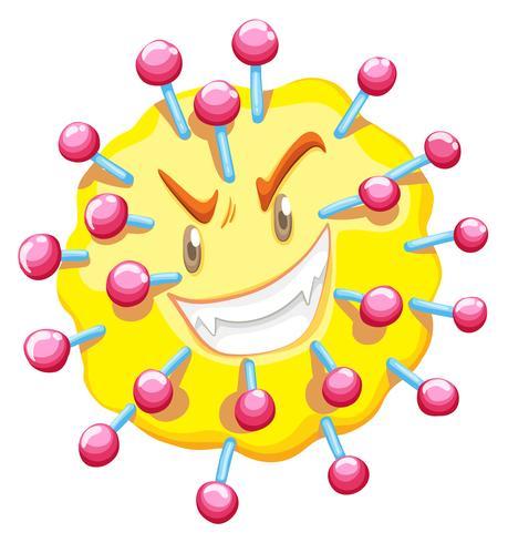 Célula de vírus com cara de monstro