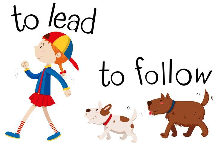 Wordcard opuesto para liderar y seguir.