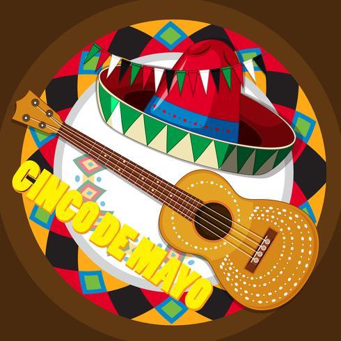 Gitarre und mexikanischer Hut auf rundem Hintergrund