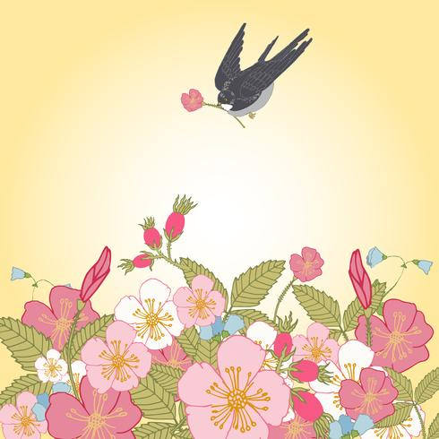 Vintage blommor bakgrund med fågel