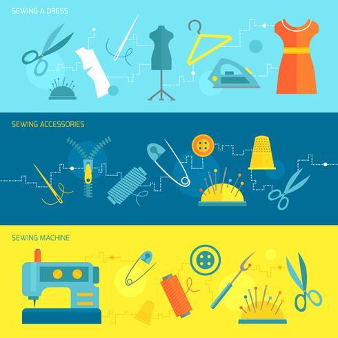 Sewing equipment banner flat vector
