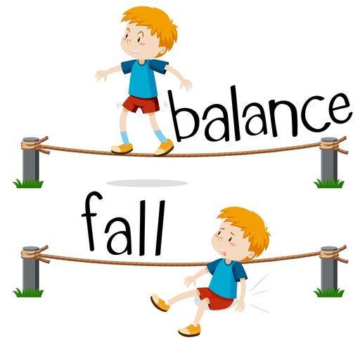 Palavras opostas para equilíbrio e queda