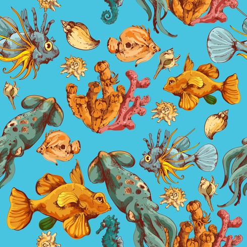 Sea creatures sketch colored seamless pattern vector