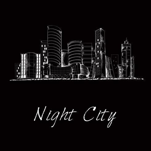 Night city skyline sketch