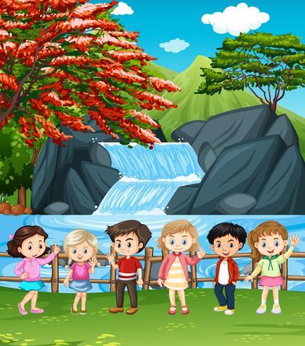 Watervalscène met vele kinderen vector