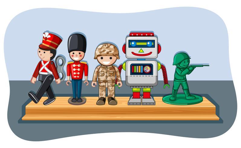 Soldatfigurer och robot på trähylla