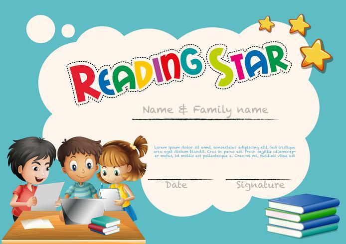 Star award sjabloon met kinderen achtergrond lezen