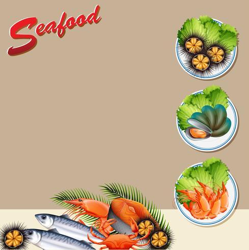 Plantilla de fondo con diferentes tipos de mariscos