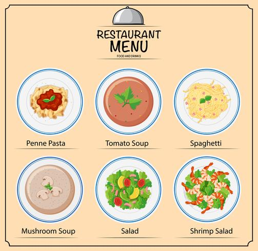 Different types of dishes on menu