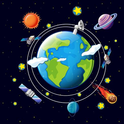 Tema espacial con satélites y planetas alrededor de la tierra.