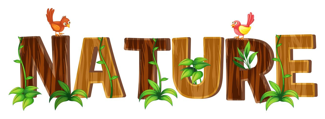 Font design with word nature vector