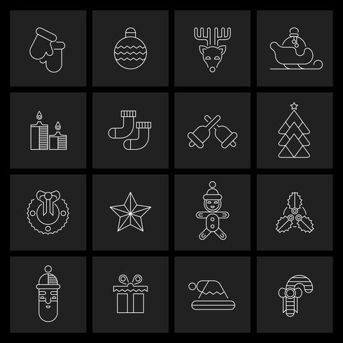 Contorno definido de ícones de Natal vetor