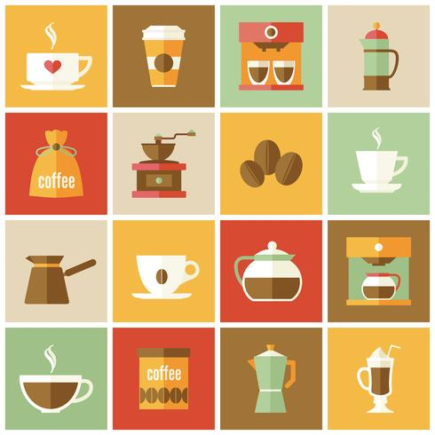 Kaffee Icons Flat Set
