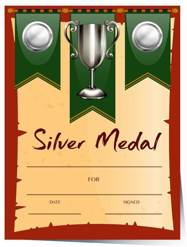 Modelo de certificado com medalha de prata
