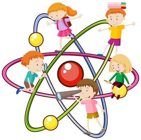 Kinder und Atomsymbol