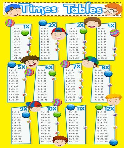 Tabla de horarios con niños felices vector