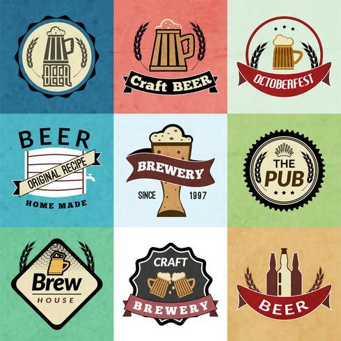 Rótulos retrô de cerveja vetor