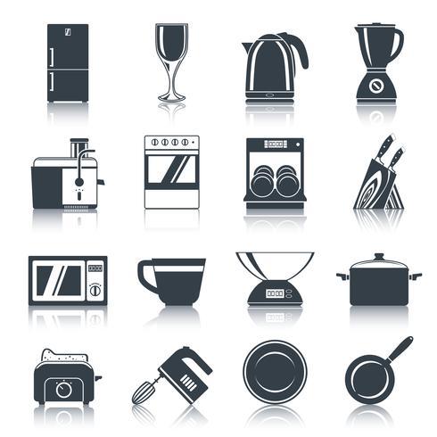 Kitchen Appliances Icons Black vector
